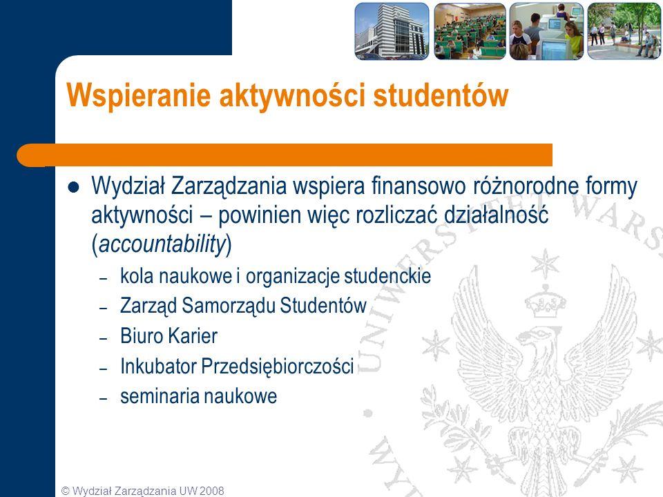 © Wydział Zarządzania UW 2008 Wspieranie aktywności studentów Wydział Zarządzania wspiera finansowo różnorodne formy aktywności – powinien więc rozlic