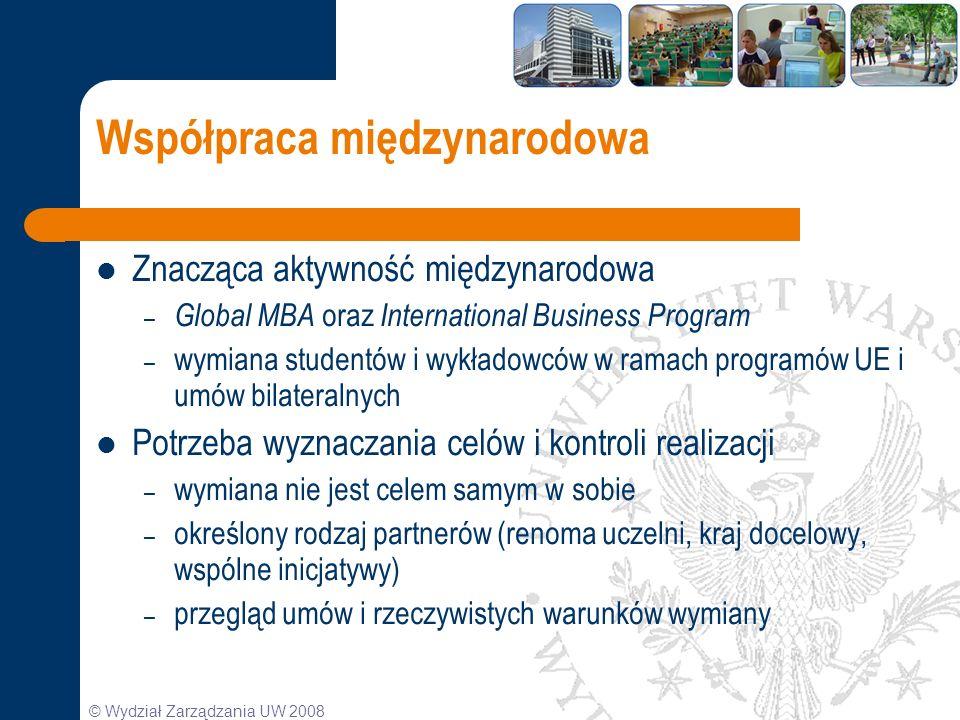 © Wydział Zarządzania UW 2008 Współpraca międzynarodowa Znacząca aktywność międzynarodowa – Global MBA oraz International Business Program – wymiana s