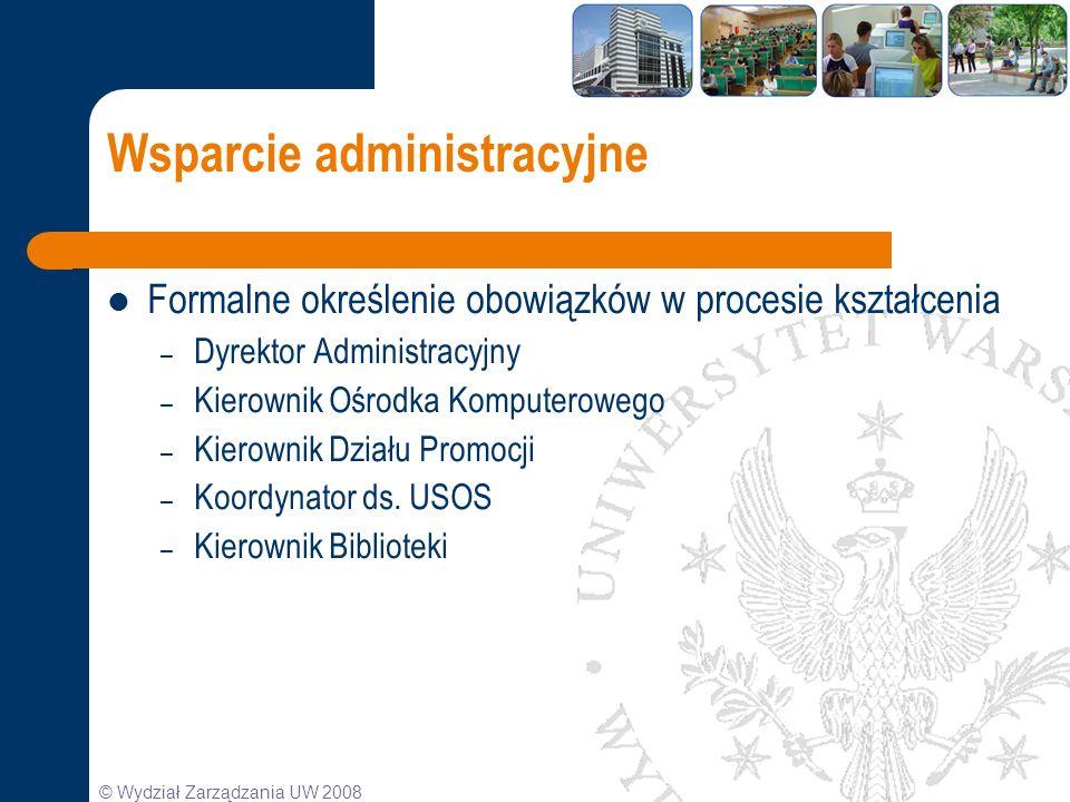 © Wydział Zarządzania UW 2008 Wsparcie administracyjne Formalne określenie obowiązków w procesie kształcenia – Dyrektor Administracyjny – Kierownik Oś