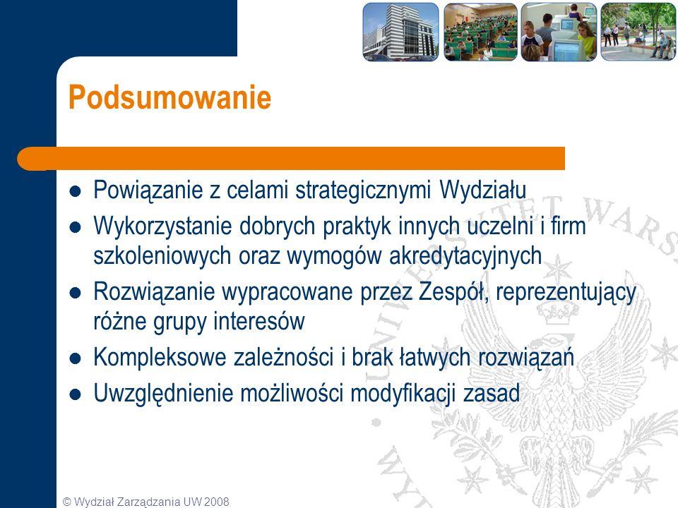 © Wydział Zarządzania UW 2008 Podsumowanie Powiązanie z celami strategicznymi Wydziału Wykorzystanie dobrych praktyk innych uczelni i firm szkoleniowy