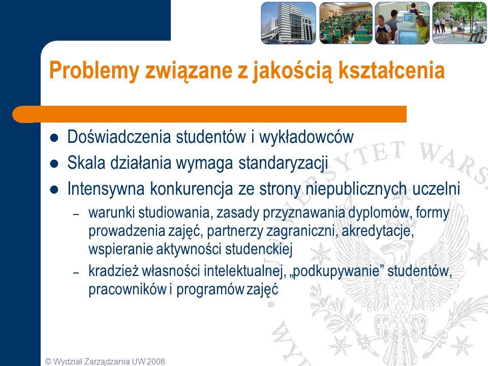 © Wydział Zarządzania UW 2008 Problemy związane z jakością kształcenia Doświadczenia studentów i wykładowców Skala działania wymaga standaryzacji Inte