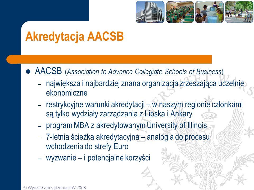 © Wydział Zarządzania UW 2008 Akredytacja AACSB AACSB ( Association to Advance Collegiate Schools of Business ) – największa i najbardziej znana organ