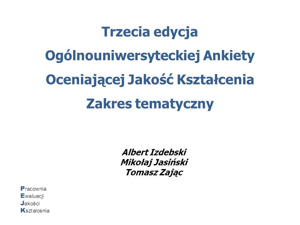 Trzecia edycja Ogólnouniwersyteckiej Ankiety Oceniającej Jakość Kształcenia Zakres tematyczny Albert Izdebski Mikołaj Jasiński Tomasz Zając