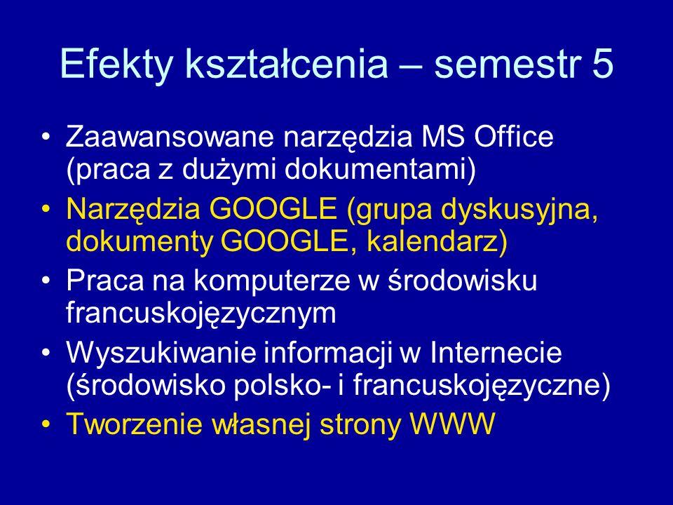 Efekty kształcenia – semestr 5 Zaawansowane narzędzia MS Office (praca z dużymi dokumentami) Narzędzia GOOGLE (grupa dyskusyjna, dokumenty GOOGLE, kalendarz) Praca na komputerze w środowisku francuskojęzycznym Wyszukiwanie informacji w Internecie (środowisko polsko- i francuskojęzyczne) Tworzenie własnej strony WWW