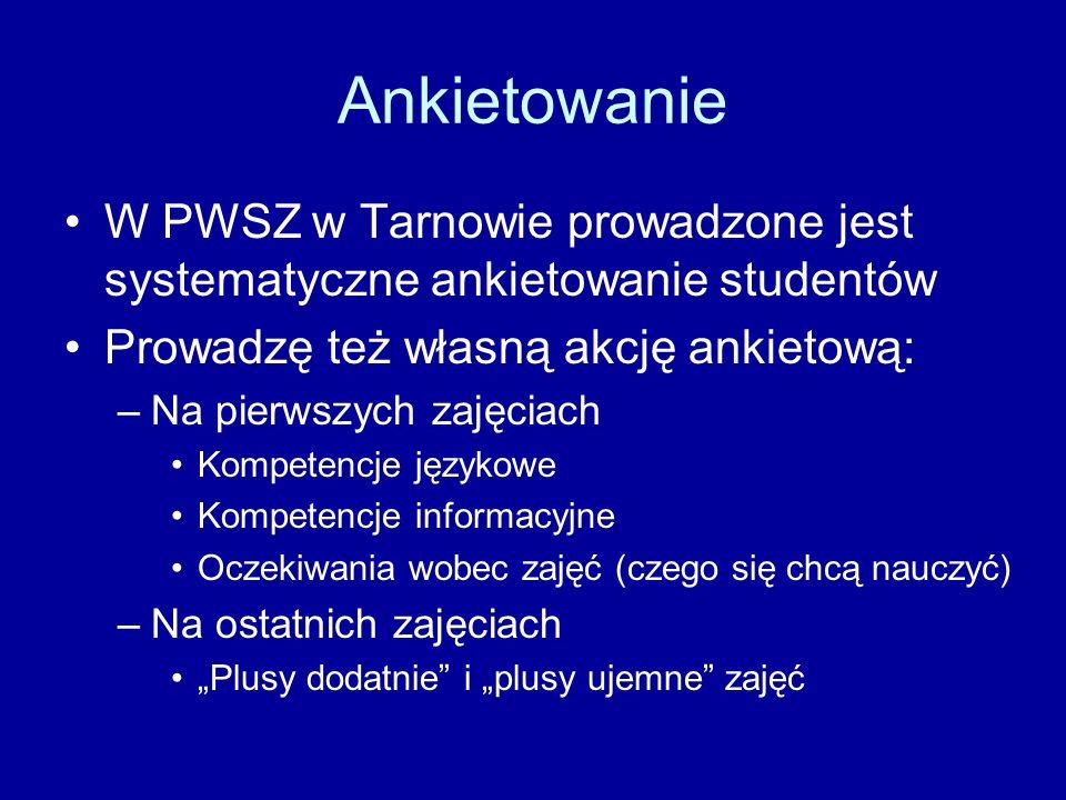Ankietowanie W PWSZ w Tarnowie prowadzone jest systematyczne ankietowanie studentów Prowadzę też własną akcję ankietową: –Na pierwszych zajęciach Kompetencje językowe Kompetencje informacyjne Oczekiwania wobec zajęć (czego się chcą nauczyć) –Na ostatnich zajęciach Plusy dodatnie i plusy ujemne zajęć