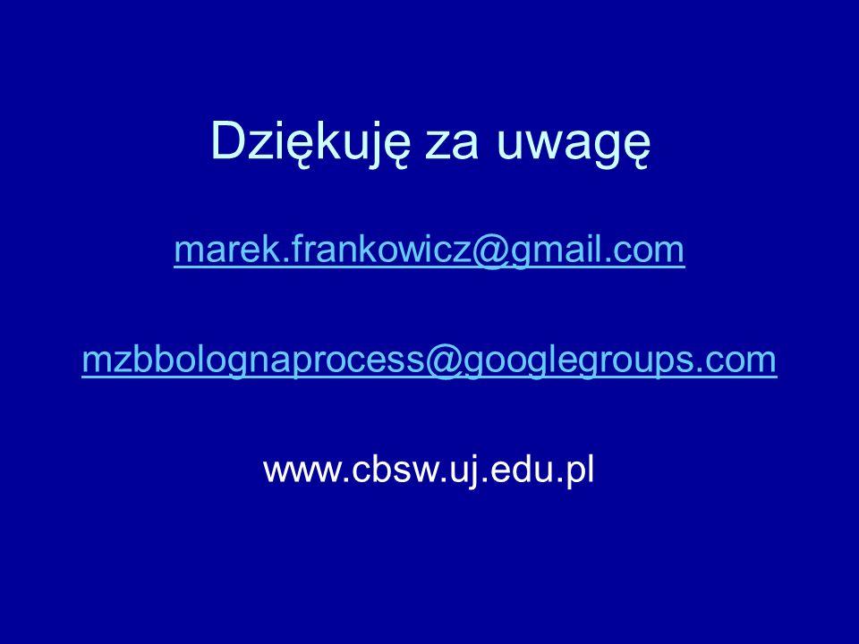 Dziękuję za uwagę marek.frankowicz@gmail.com mzbbolognaprocess@googlegroups.com www.cbsw.uj.edu.pl