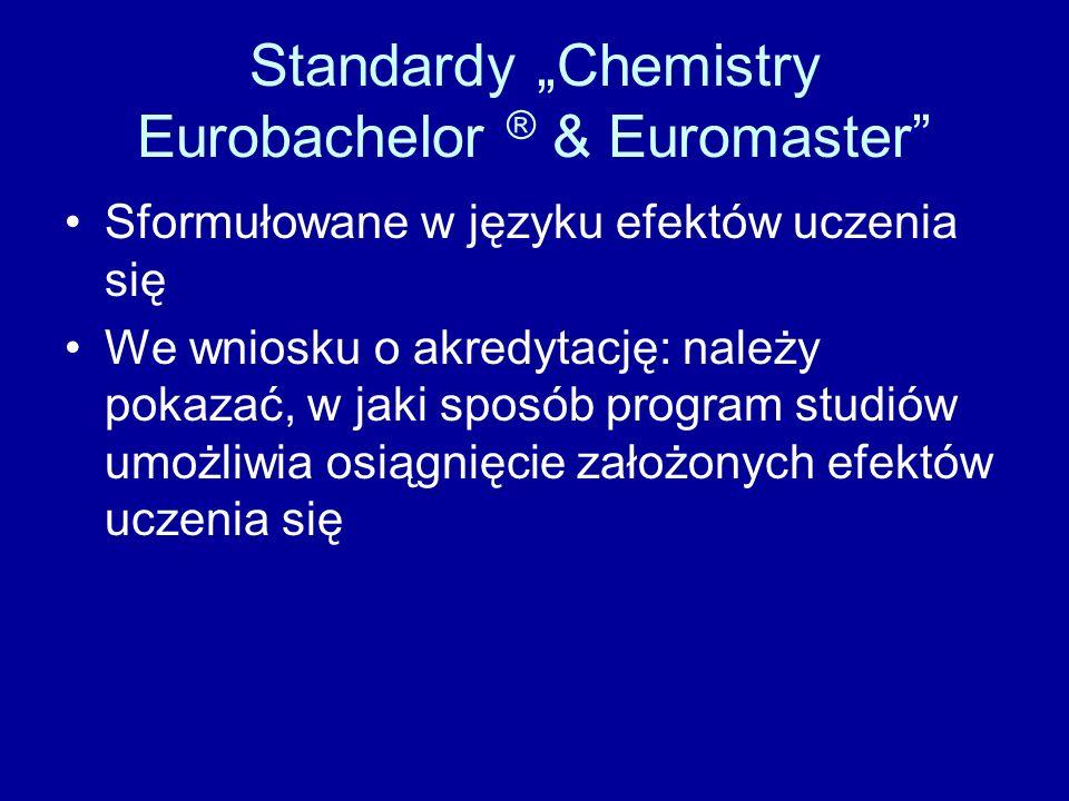 Standardy Chemistry Eurobachelor ® & Euromaster Sformułowane w języku efektów uczenia się We wniosku o akredytację: należy pokazać, w jaki sposób prog