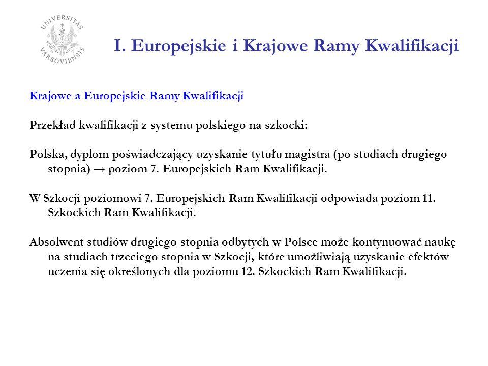 I. Europejskie i Krajowe Ramy Kwalifikacji Krajowe a Europejskie Ramy Kwalifikacji Przekład kwalifikacji z systemu polskiego na szkocki: Polska, dyplo