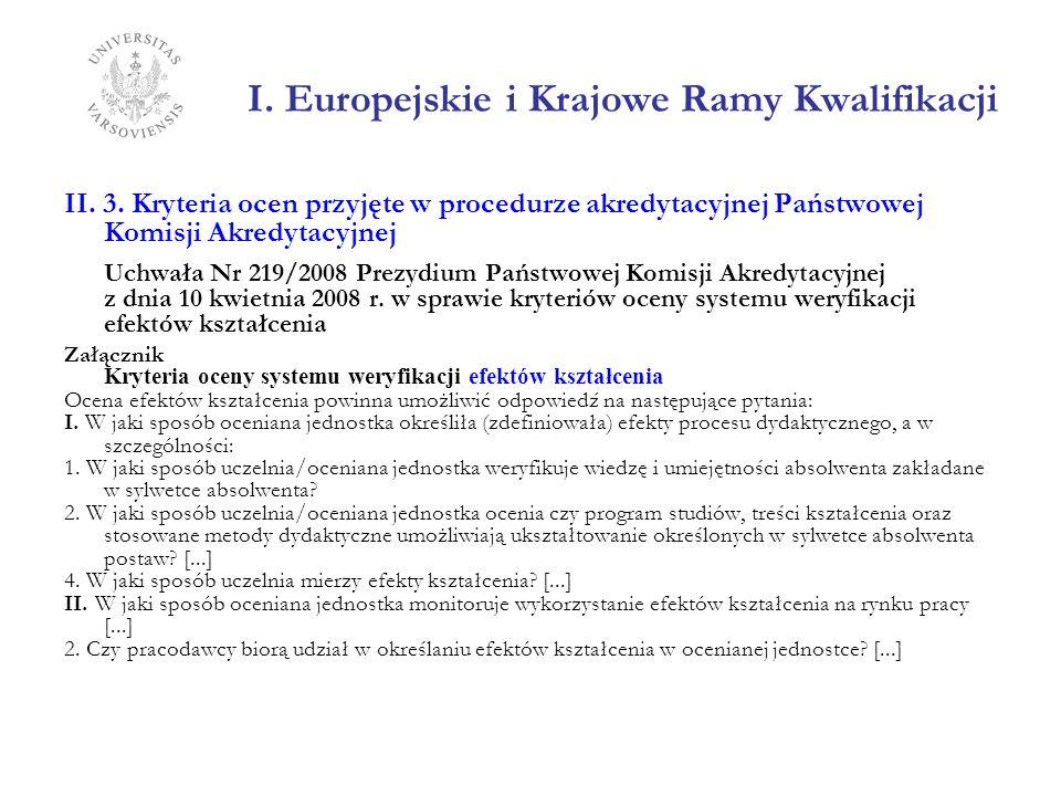 I. Europejskie i Krajowe Ramy Kwalifikacji II. 3. Kryteria ocen przyjęte w procedurze akredytacyjnej Państwowej Komisji Akredytacyjnej Uchwała Nr 219/