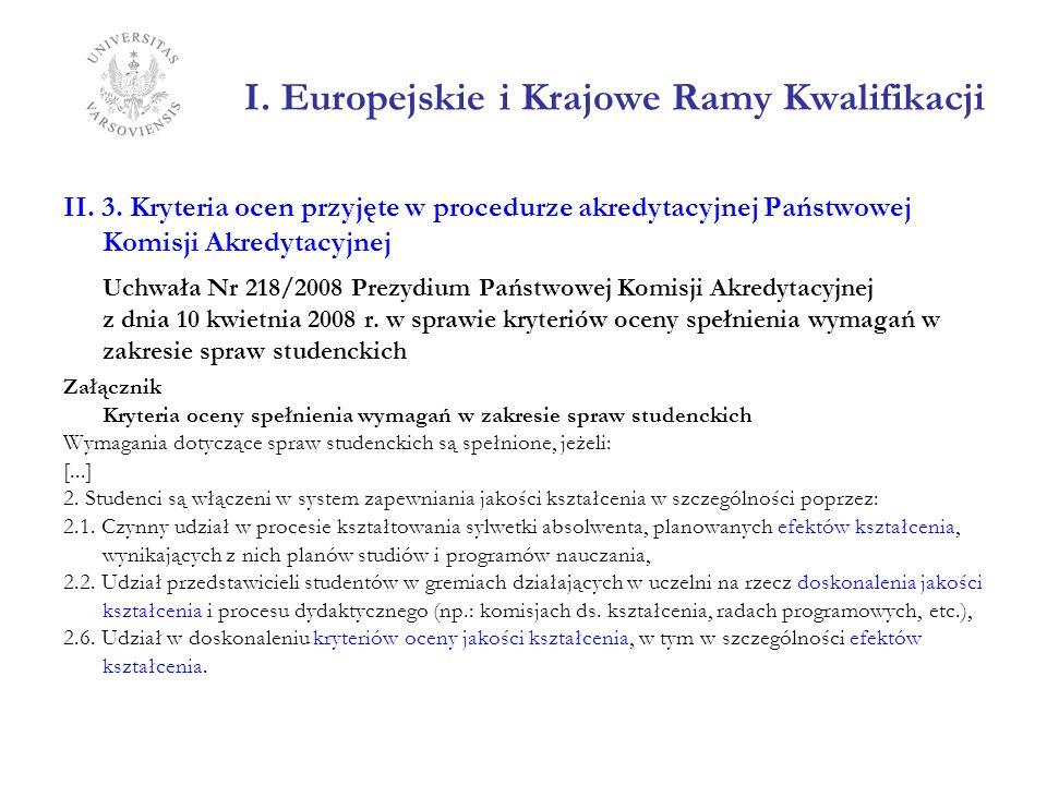 I. Europejskie i Krajowe Ramy Kwalifikacji II. 3. Kryteria ocen przyjęte w procedurze akredytacyjnej Państwowej Komisji Akredytacyjnej Uchwała Nr 218/