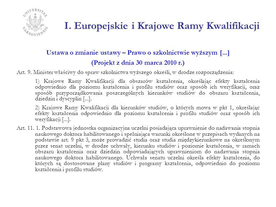 I. Europejskie i Krajowe Ramy Kwalifikacji Ustawa o zmianie ustawy – Prawo o szkolnictwie wyższym [...] (Projekt z dnia 30 marca 2010 r.) Art. 9. Mini
