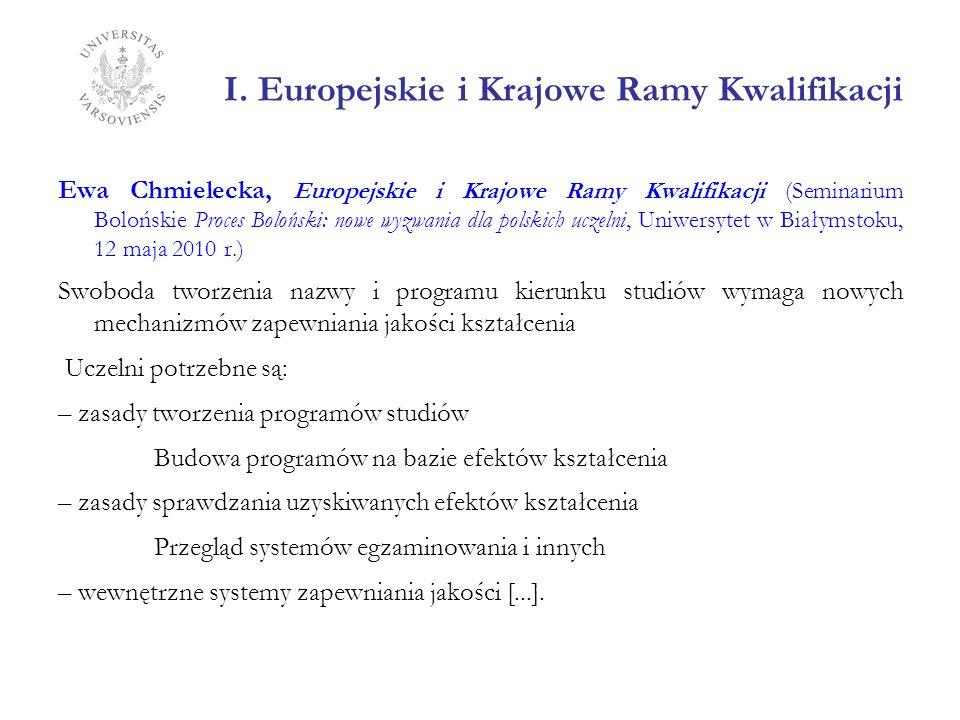 I. Europejskie i Krajowe Ramy Kwalifikacji Ewa Chmielecka, Europejskie i Krajowe Ramy Kwalifikacji (Seminarium Bolońskie Proces Boloński: nowe wyzwani