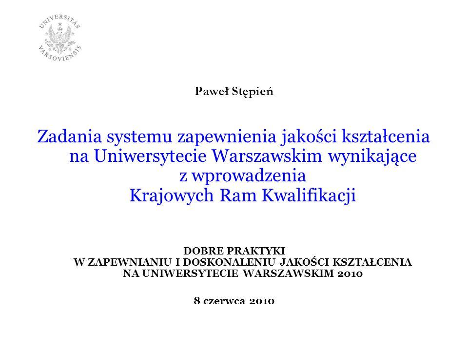 Paweł Stępień Zadania systemu zapewnienia jakości kształcenia na Uniwersytecie Warszawskim wynikające z wprowadzenia Krajowych Ram Kwalifikacji DOBRE
