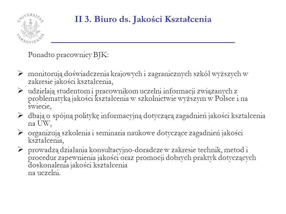 II 3. Biuro ds. Jakości Kształcenia _______________________ Ponadto pracownicy BJK: monitorują doświadczenia krajowych i zagranicznych szkół wyższych