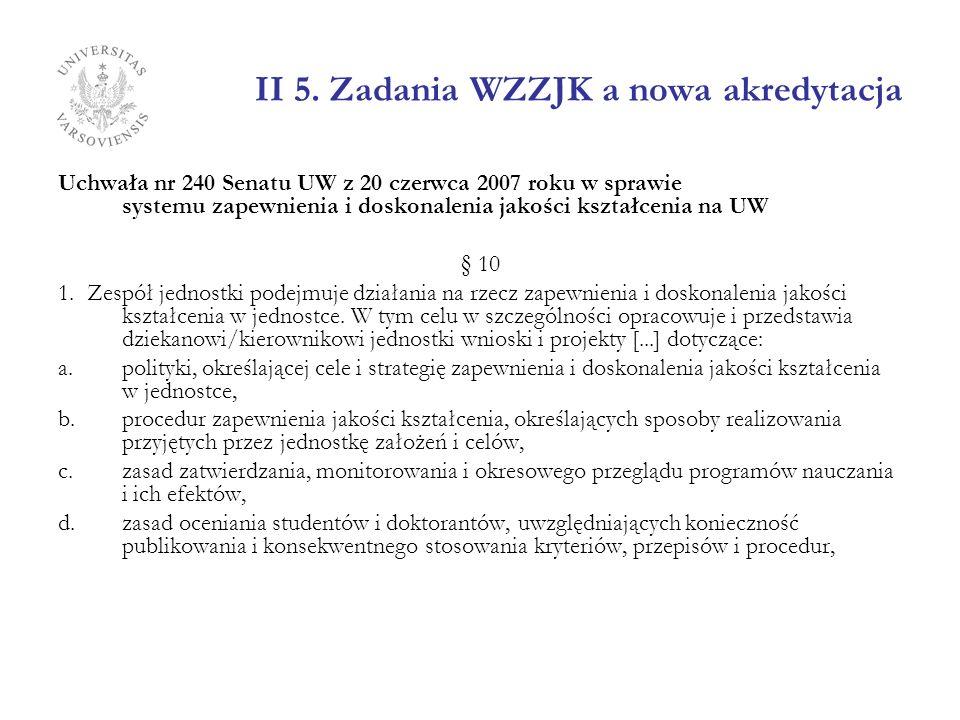 II 5. Zadania WZZJK a nowa akredytacja Uchwała nr 240 Senatu UW z 20 czerwca 2007 roku w sprawie systemu zapewnienia i doskonalenia jakości kształceni