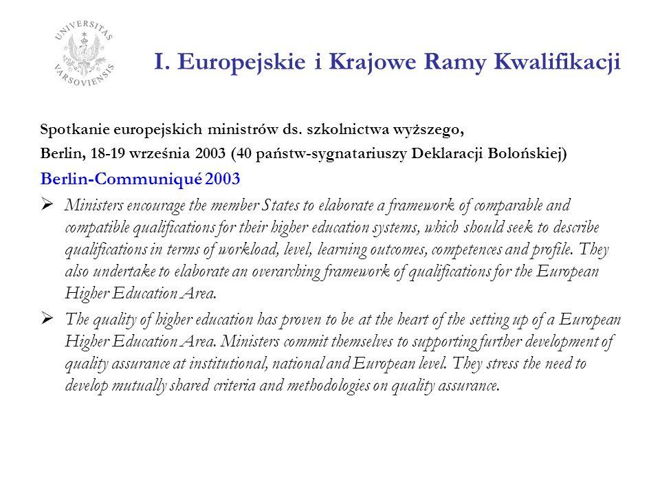 I. Europejskie i Krajowe Ramy Kwalifikacji Spotkanie europejskich ministrów ds. szkolnictwa wyższego, Berlin, 18-19 września 2003 (40 państw-sygnatari