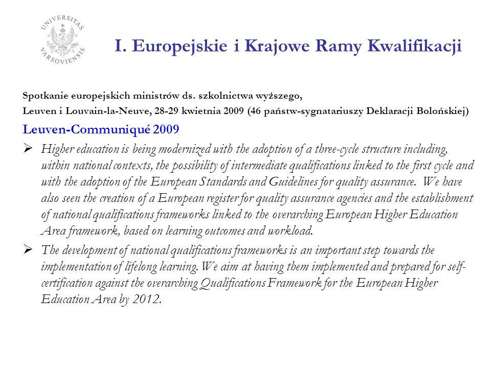 I. Europejskie i Krajowe Ramy Kwalifikacji Spotkanie europejskich ministrów ds. szkolnictwa wyższego, Leuven i Louvain-la-Neuve, 28-29 kwietnia 2009 (