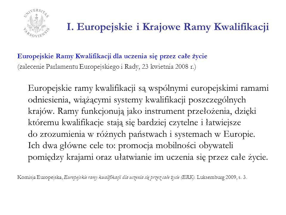 I. Europejskie i Krajowe Ramy Kwalifikacji Europejskie Ramy Kwalifikacji dla uczenia się przez całe życie (zalecenie Parlamentu Europejskiego i Rady,
