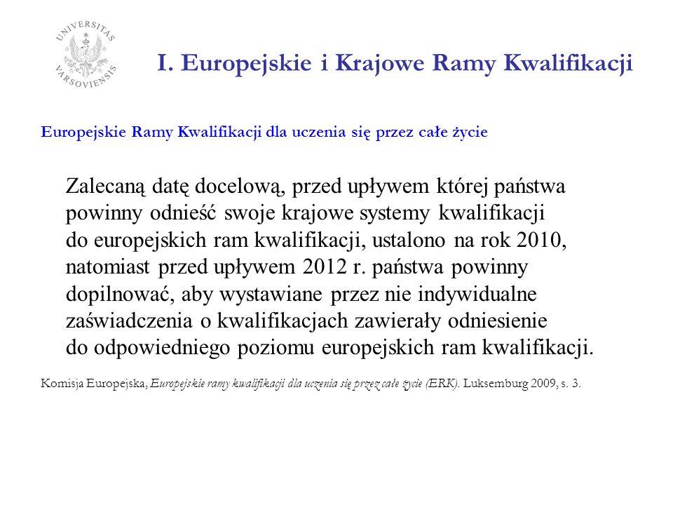 I. Europejskie i Krajowe Ramy Kwalifikacji Europejskie Ramy Kwalifikacji dla uczenia się przez całe życie Zalecaną datę docelową, przed upływem której