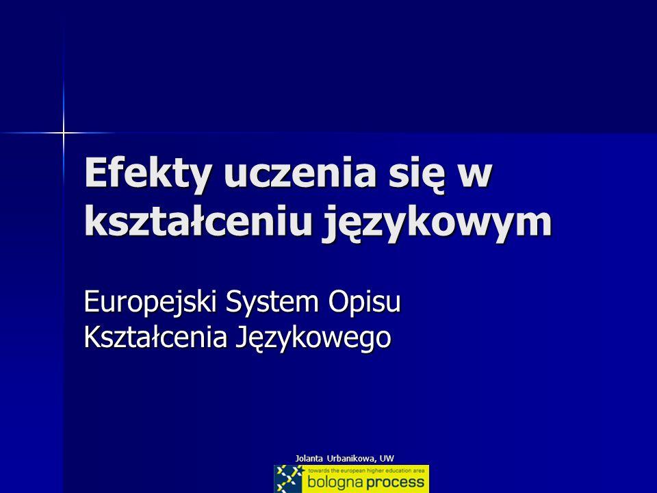 Jolanta Urbanikowa, UW Efekty uczenia się w kształceniu językowym Europejski System Opisu Kształcenia Językowego