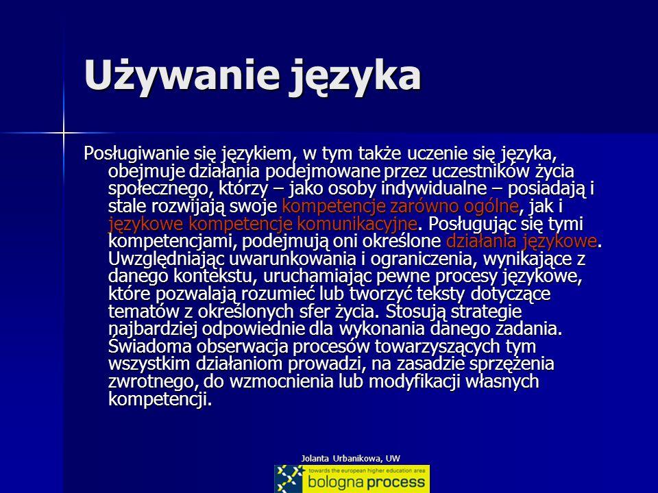 Jolanta Urbanikowa, UW Używanie języka Posługiwanie się językiem, w tym także uczenie się języka, obejmuje działania podejmowane przez uczestników życ
