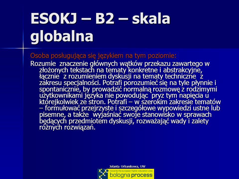Jolanta Urbanikowa, UW ESOKJ – B2 – skala globalna Osoba posługująca się językiem na tym poziomie: Rozumie znaczenie głównych wątków przekazu zawarteg