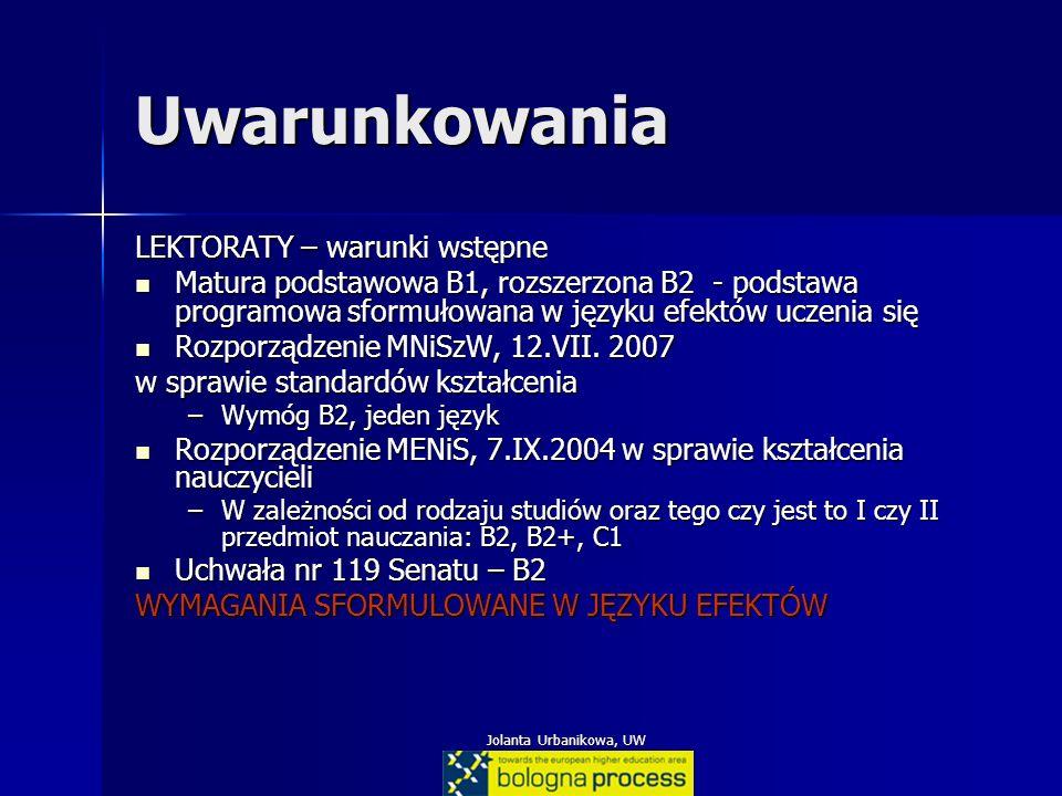 Jolanta Urbanikowa, UW Uwarunkowania LEKTORATY – warunki wstępne Matura podstawowa B1, rozszerzona B2 - podstawa programowa sformułowana w języku efek