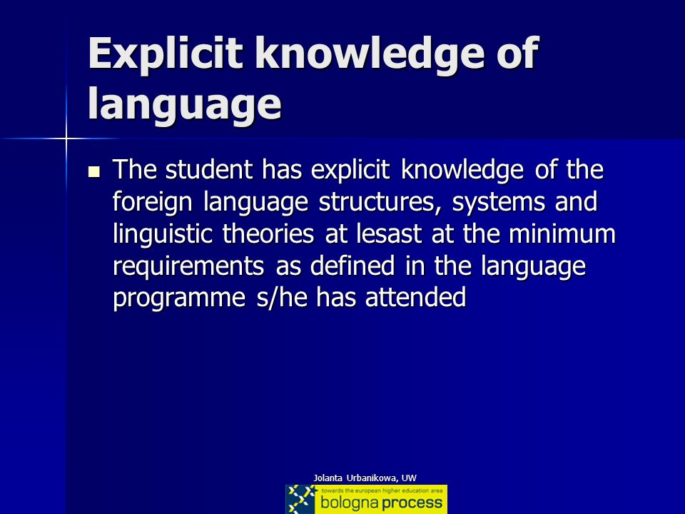 Jolanta Urbanikowa, UW Explicit knowledge of language The student has explicit knowledge of the foreign language structures, systems and linguistic th
