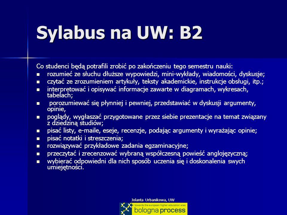 Jolanta Urbanikowa, UW Sylabus na UW: B2 Co studenci będą potrafili zrobić po zakończeniu tego semestru nauki: rozumieć ze słuchu dłuższe wypowiedzi,