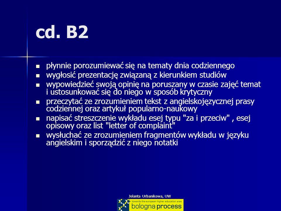 Jolanta Urbanikowa, UW cd. B2 płynnie porozumiewać się na tematy dnia codziennego wygłosić prezentację związaną z kierunkiem studiów wypowiedzieć swoj
