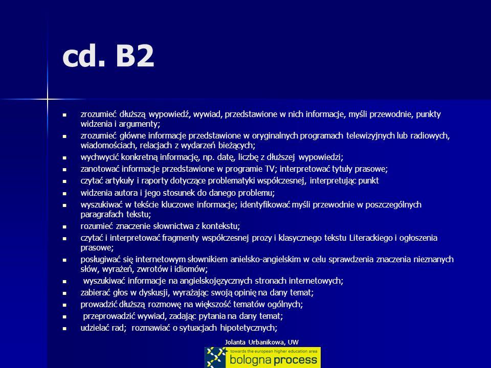 Jolanta Urbanikowa, UW cd. B2 zrozumieć dłuższą wypowiedź, wywiad, przedstawione w nich informacje, myśli przewodnie, punkty widzenia i argumenty; zro