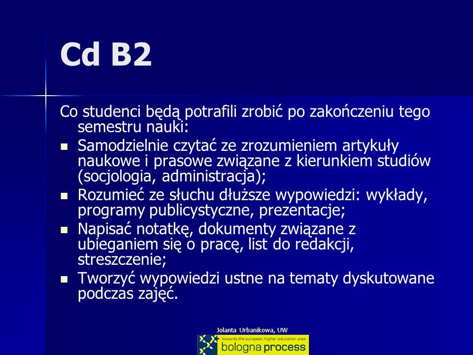 Jolanta Urbanikowa, UW Cd B2 Co studenci będą potrafili zrobić po zakończeniu tego semestru nauki: Samodzielnie czytać ze zrozumieniem artykuły naukow