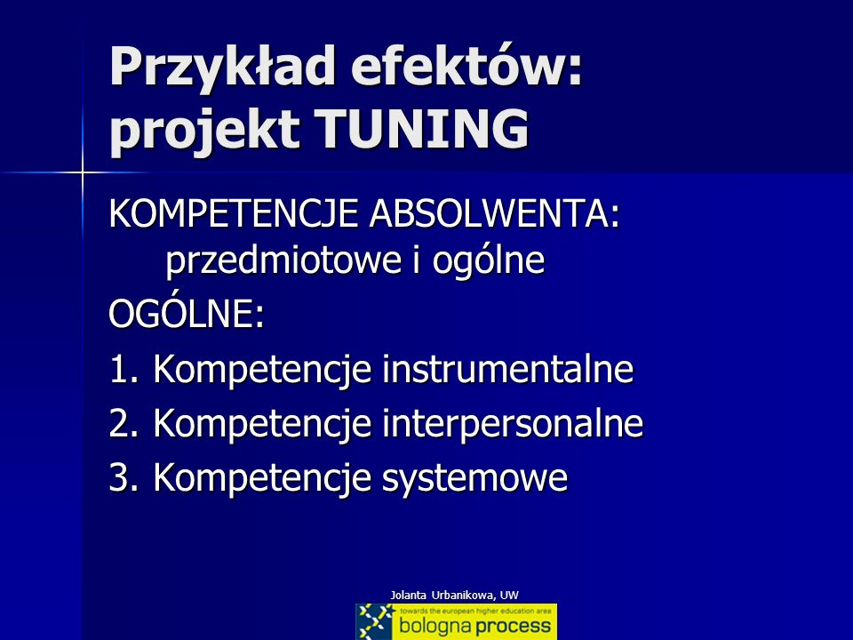 Jolanta Urbanikowa, UW Przykład efektów: projekt TUNING KOMPETENCJE ABSOLWENTA: przedmiotowe i ogólne OGÓLNE: 1. Kompetencje instrumentalne 2. Kompete