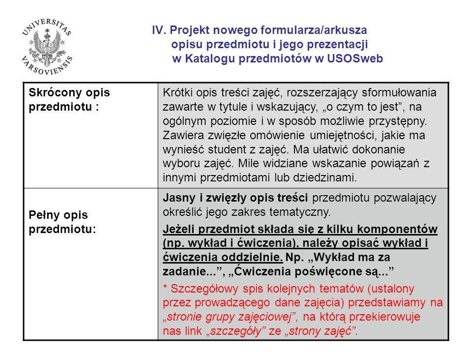 IV. Projekt nowego formularza/arkusza opisu przedmiotu i jego prezentacji w Katalogu przedmiotów w USOSweb Skrócony opis przedmiotu : Krótki opis treś
