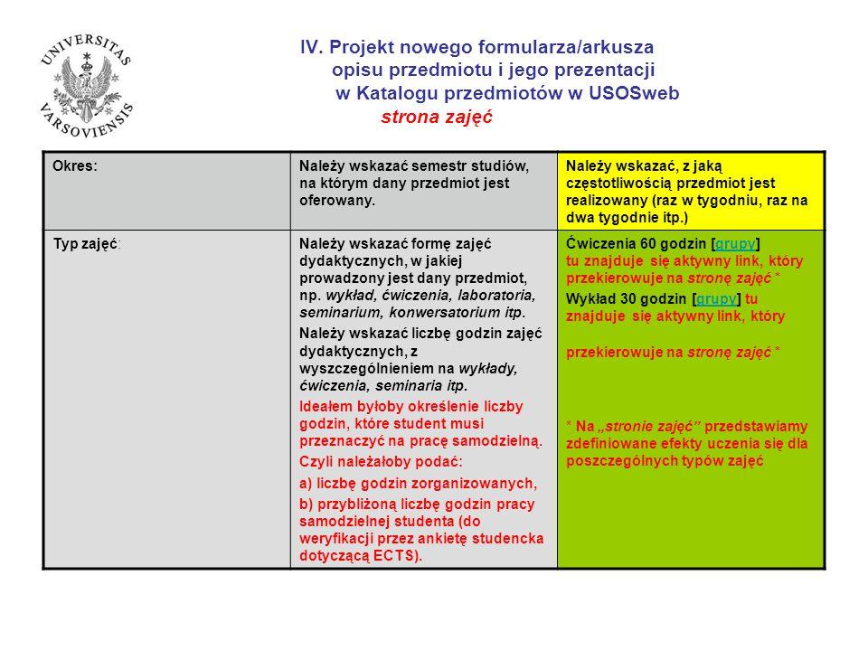 IV. Projekt nowego formularza/arkusza opisu przedmiotu i jego prezentacji w Katalogu przedmiotów w USOSweb strona zajęć Okres:Należy wskazać semestr s