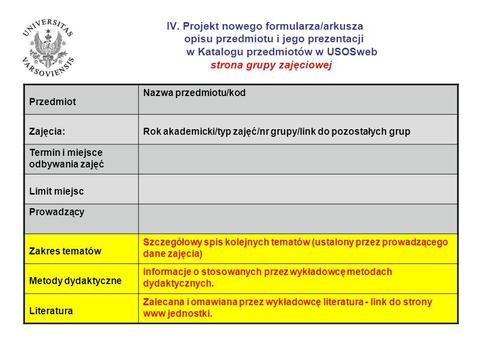 IV. Projekt nowego formularza/arkusza opisu przedmiotu i jego prezentacji w Katalogu przedmiotów w USOSweb strona grupy zajęciowej Przedmiot Nazwa prz
