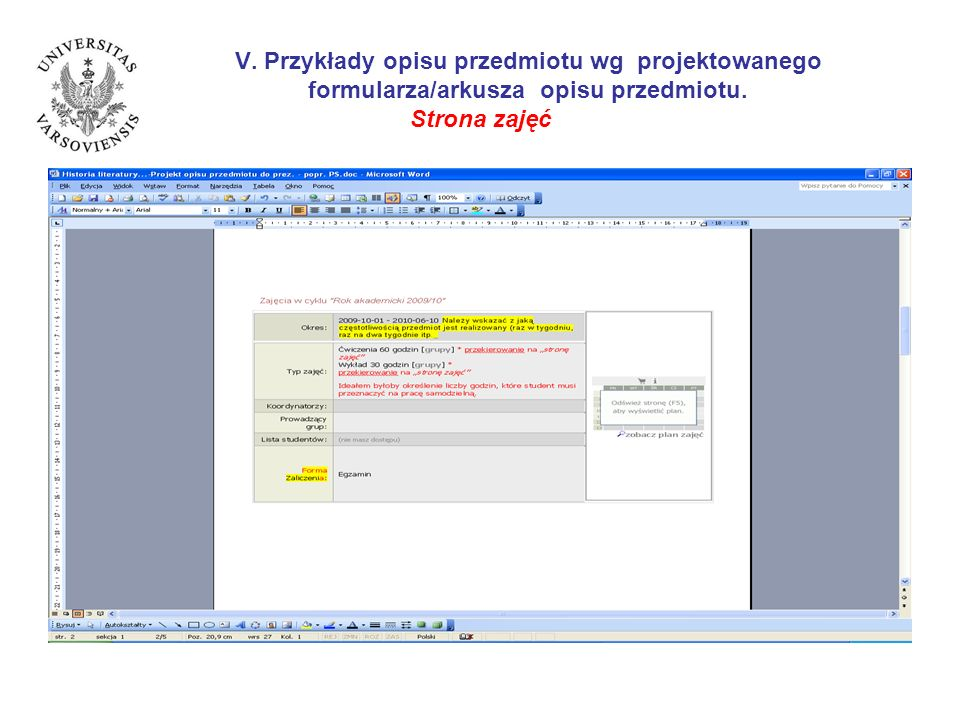 V. Przykłady opisu przedmiotu wg projektowanego formularza/arkusza opisu przedmiotu. Strona zajęć