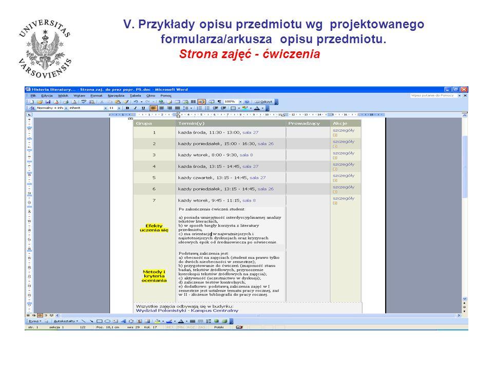 V. Przykłady opisu przedmiotu wg projektowanego formularza/arkusza opisu przedmiotu. Strona zajęć - ćwiczenia