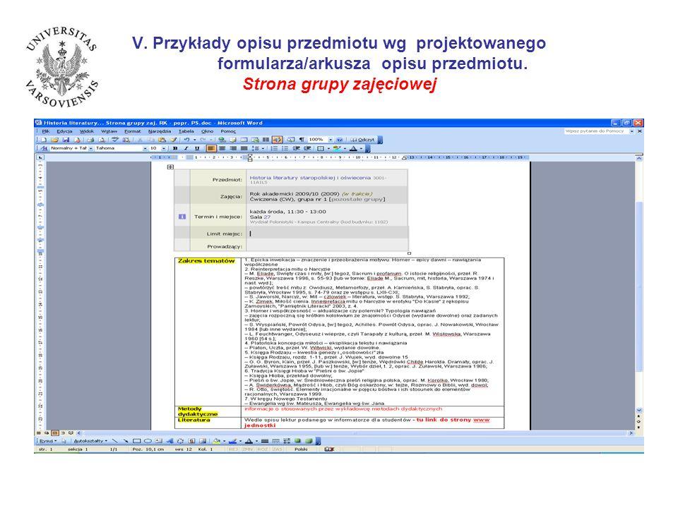 V. Przykłady opisu przedmiotu wg projektowanego formularza/arkusza opisu przedmiotu. Strona grupy zajęciowej
