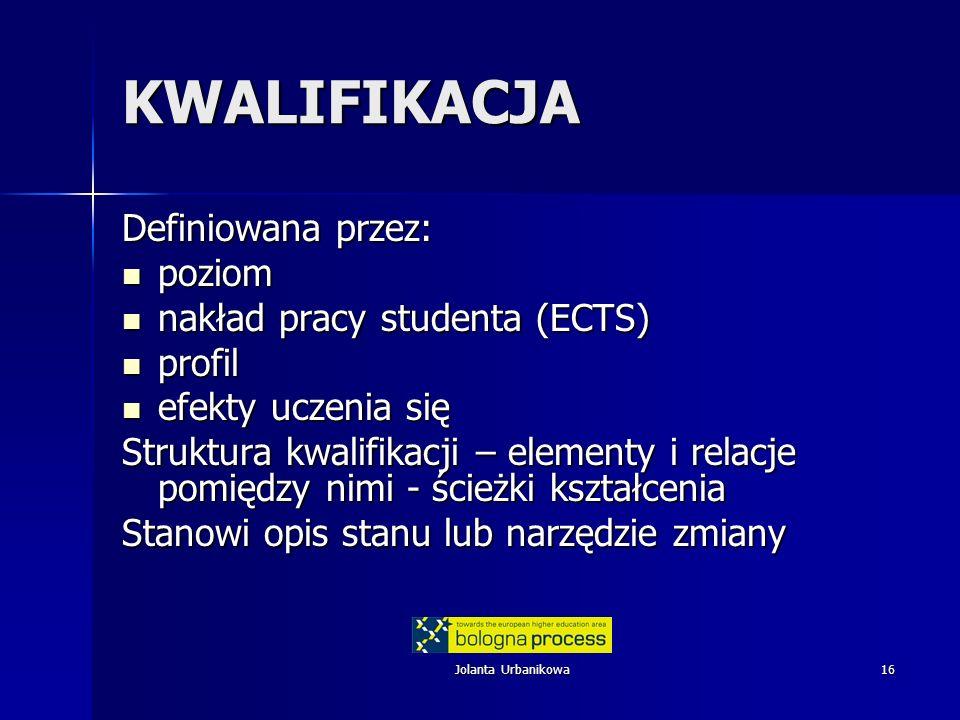 Jolanta Urbanikowa16 KWALIFIKACJA Definiowana przez: poziom poziom nakład pracy studenta (ECTS) nakład pracy studenta (ECTS) profil profil efekty ucze