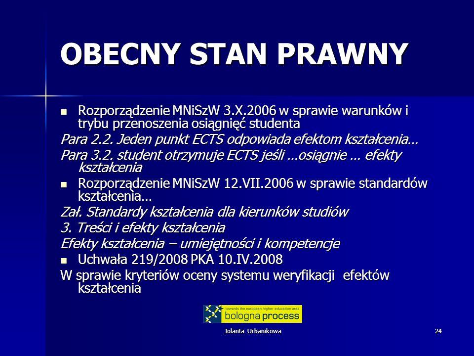 Jolanta Urbanikowa24 OBECNY STAN PRAWNY Rozporządzenie MNiSzW 3.X.2006 w sprawie warunków i trybu przenoszenia osiągnięć studenta Rozporządzenie MNiSz