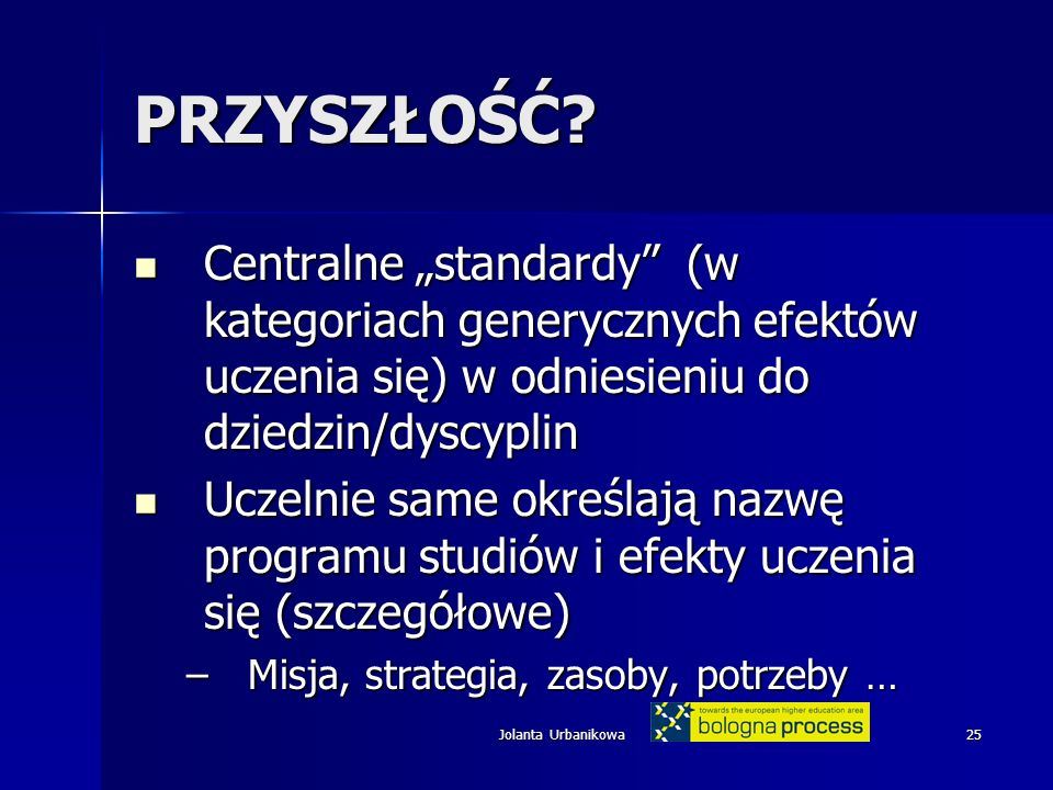 Jolanta Urbanikowa25 PRZYSZŁOŚĆ? Centralne standardy (w kategoriach generycznych efektów uczenia się) w odniesieniu do dziedzin/dyscyplin Centralne st