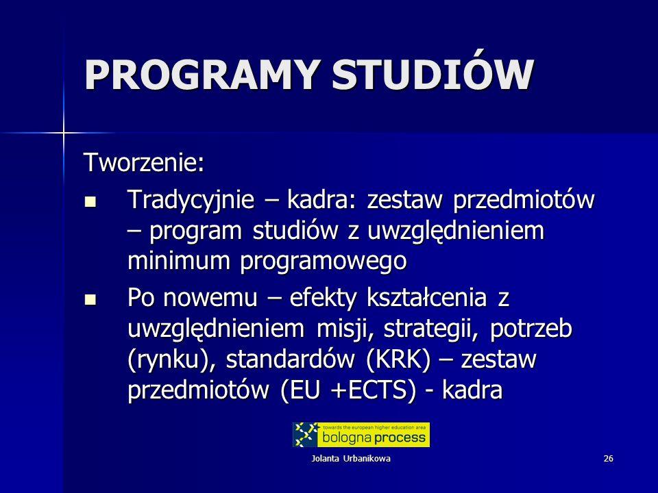 Jolanta Urbanikowa26 PROGRAMY STUDIÓW Tworzenie: Tradycyjnie – kadra: zestaw przedmiotów – program studiów z uwzględnieniem minimum programowego Trady