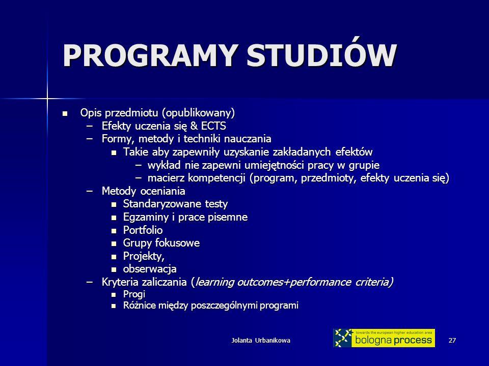 Jolanta Urbanikowa27 PROGRAMY STUDIÓW Opis przedmiotu (opublikowany) Opis przedmiotu (opublikowany) –Efekty uczenia się & ECTS –Formy, metody i techni
