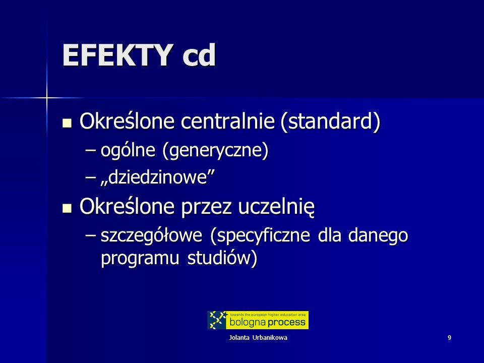 Jolanta Urbanikowa9 EFEKTY cd Określone centralnie (standard) Określone centralnie (standard) –ogólne (generyczne) –dziedzinowe Określone przez uczeln