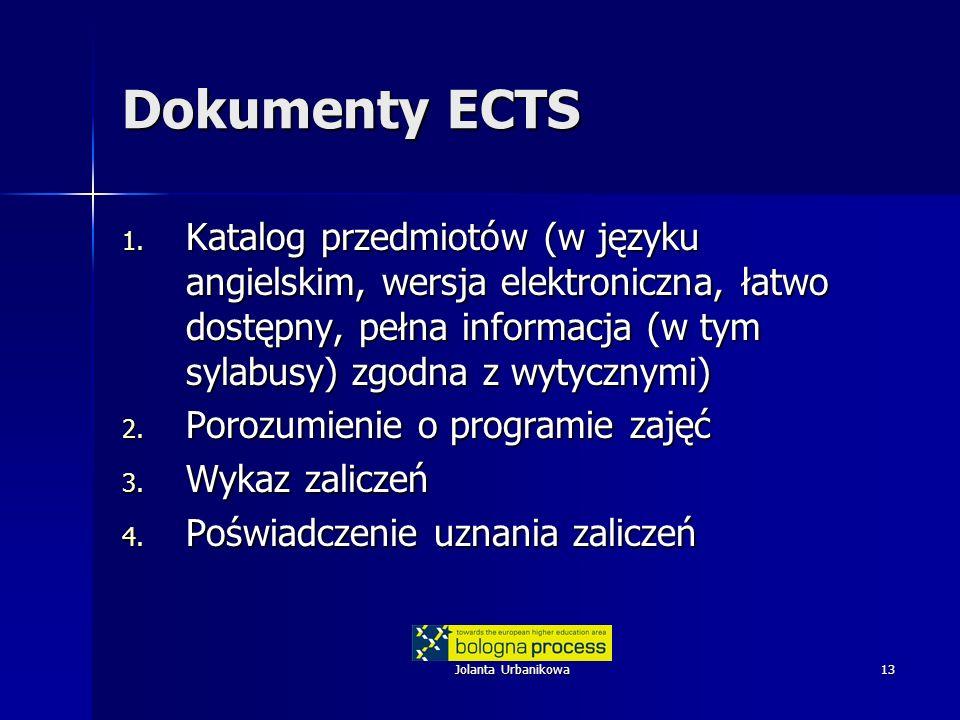 Jolanta Urbanikowa13 Dokumenty ECTS 1. Katalog przedmiotów (w języku angielskim, wersja elektroniczna, łatwo dostępny, pełna informacja (w tym sylabus