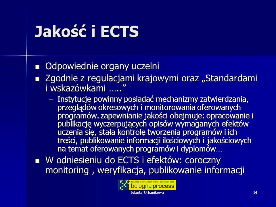 Jolanta Urbanikowa14 Jakość i ECTS Odpowiednie organy uczelni Odpowiednie organy uczelni Zgodnie z regulacjami krajowymi oraz Standardami i wskazówkam