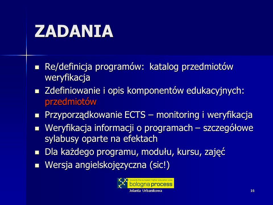 Jolanta Urbanikowa16 ZADANIA Re/definicja programów: katalog przedmiotów weryfikacja Re/definicja programów: katalog przedmiotów weryfikacja Zdefiniow