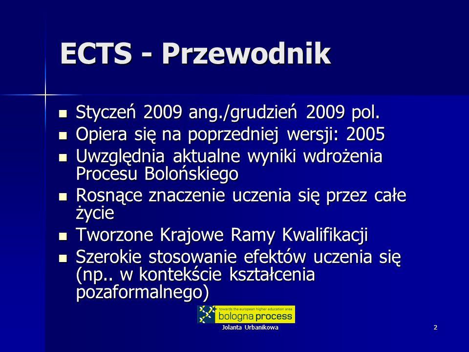 Jolanta Urbanikowa2 ECTS - Przewodnik Styczeń 2009 ang./grudzień 2009 pol. Styczeń 2009 ang./grudzień 2009 pol. Opiera się na poprzedniej wersji: 2005