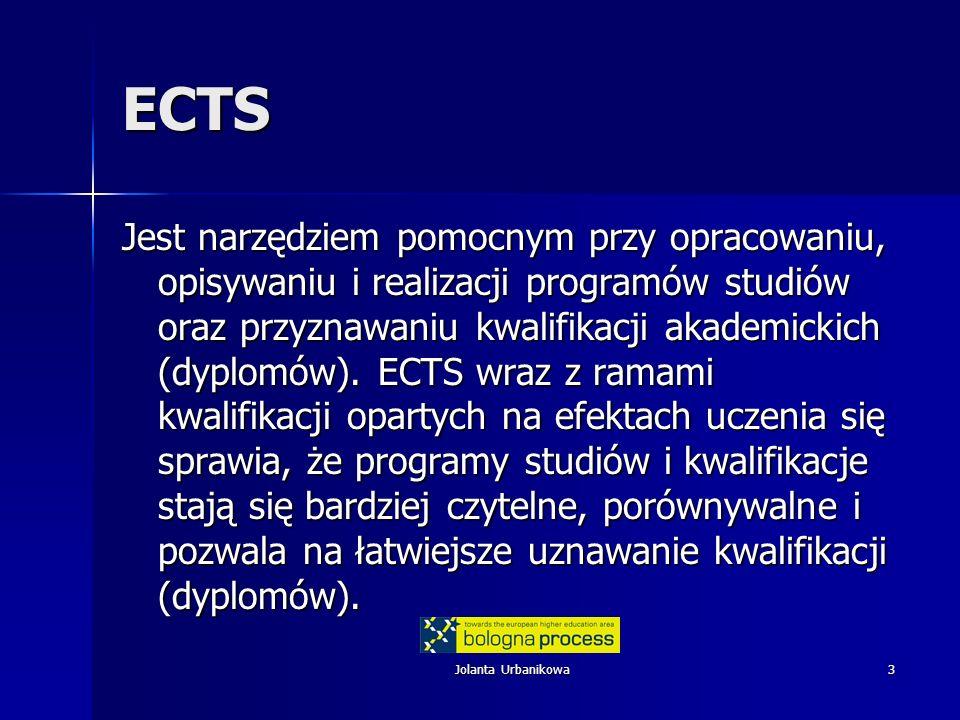 Jolanta Urbanikowa14 Jakość i ECTS Odpowiednie organy uczelni Odpowiednie organy uczelni Zgodnie z regulacjami krajowymi oraz Standardami i wskazówkami …..